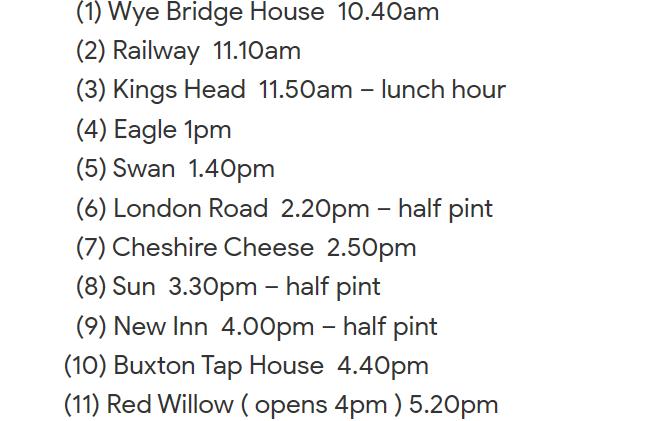 Buxton itinerary